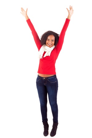 Happy young african woman expressing positivity sign, isolated over white Stock Photo - 16547938