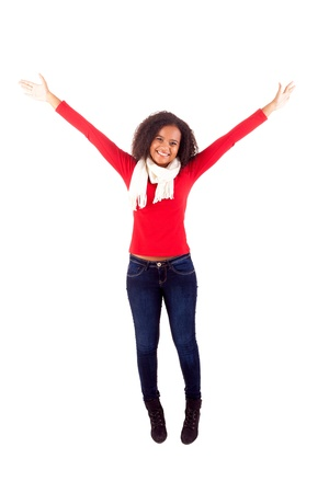 Happy young african woman expressing positivity sign, isolated over white Stock Photo - 16547931