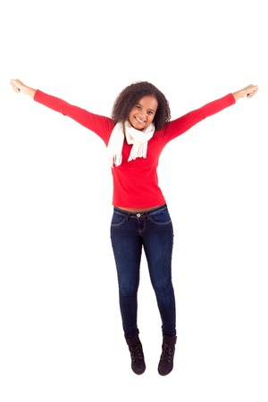 Happy young african woman expressing positivity sign, isolated over white Stock Photo - 16547936