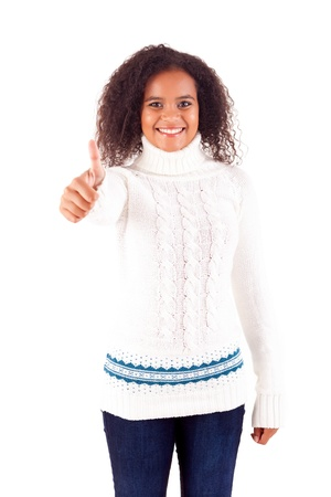 Happy young woman expressing positivity sign, isolated over white Stock Photo - 16547857