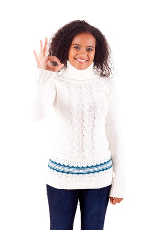 Happy young woman expressing positivity sign, isolated over white Stock Photo - 16547852