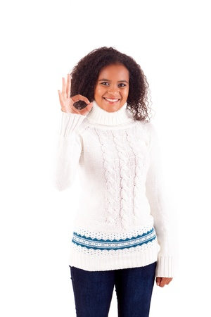 Happy young woman expressing positivity sign, isolated over white Stock Photo - 16547845