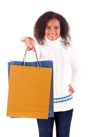 Young and beautiful woman with shopping bags photo