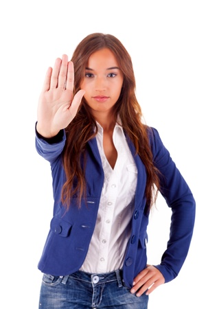 Young asian business woman making stop sign Stock Photo