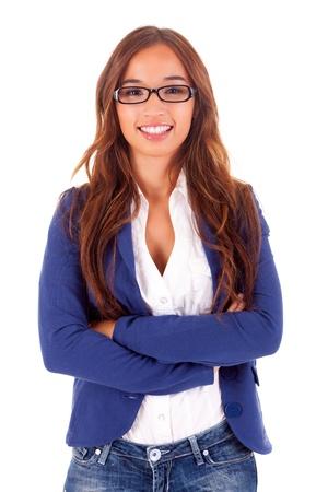 businesswoman suit: Hermosa mujer de negocios asi�tico, aislado sobre fondo blanco