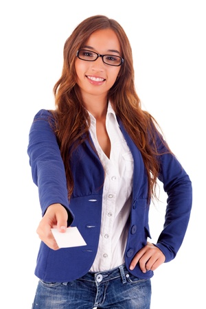 Young business woman offering greeting card Stock Photo - 16752794