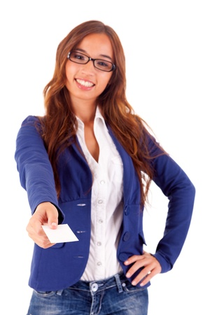 Young business woman offering greeting card Stock Photo - 16752841