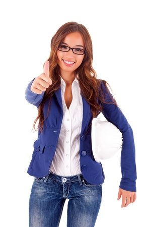 Beautiful young asian business woman expressing positivity Stock Photo - 16752742