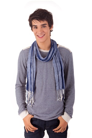 teenagers standing: Young casual man posing isolated over white