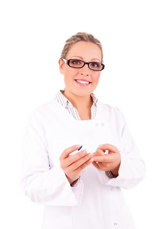 Young doctor showing how to measure glucose level in blood Stock Photo - 16752921