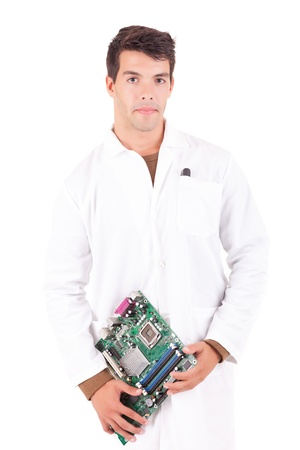Happy and successful young computer engineer photo