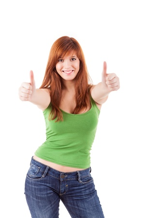 Attractive redhead woman signaling ok -  isolated on a white bakcground photo