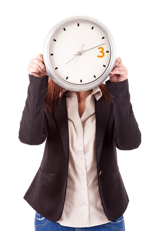 Young business woman holding a white clock, isolated over white background Stock Photo - 17420978