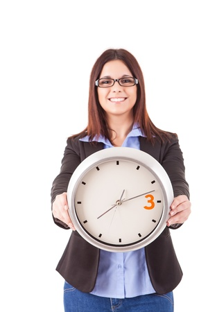 Young business woman holding a white clock, isolated over white background Stock Photo - 17421169