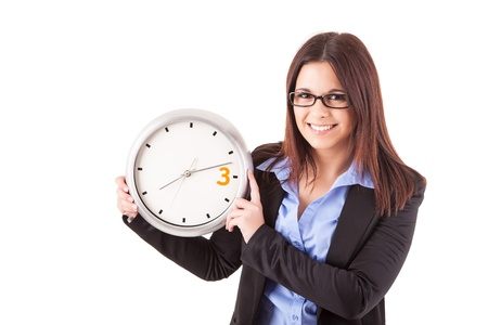 Young business woman holding a white clock, isolated over white background Stock Photo - 17421105