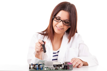Happy and successful young computer technician Stock Photo - 17421163