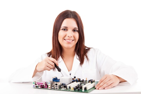 Happy and successful young computer technician Stock Photo - 17421195