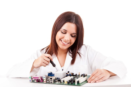 Happy and successful young computer technician Stock Photo - 17421077