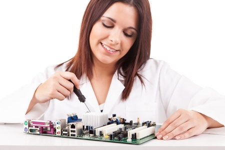 Happy and successful young computer technician Stock Photo - 17421081