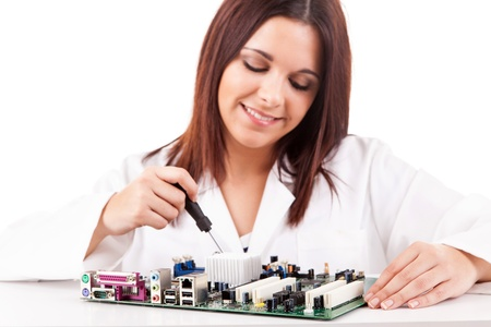 Happy and successful young computer technician Stock Photo - 17421206