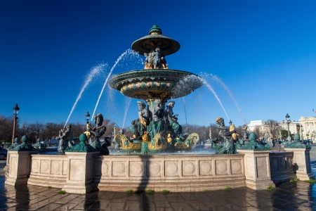 fontaine: Square of Concorde in Paris, France Stock Photo
