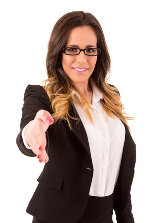 Young business woman offering handshake photo