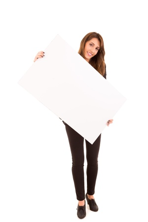 notecard: Beautiful young woman holding a white card - isolated over white