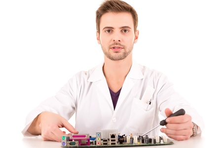 Computer Engineer, isolated over white background photo