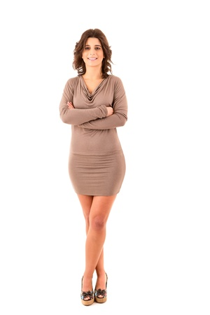 Beautiful young business woman posing isolated over white photo