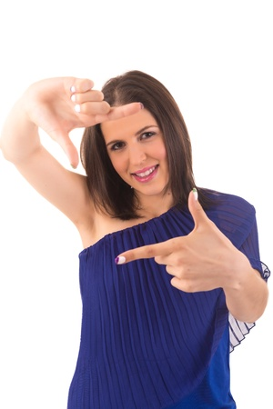 Young woman making framing key gesture - isolated over white Stock Photo - 18741035