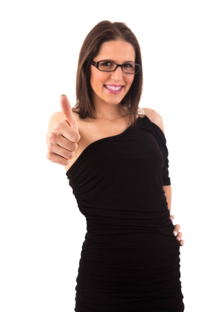 Business woman signaling ok - isolated over white photo