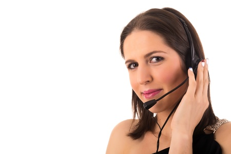 Friendly young beautiful telephone operator at work Stock Photo - 18741016