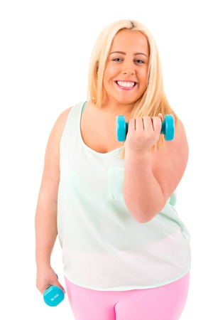 overweight people: Beautiful large woman exercising - isolated over a white background Stock Photo