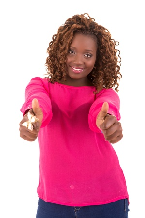 Happy african overweighted woman posing isolated over white background