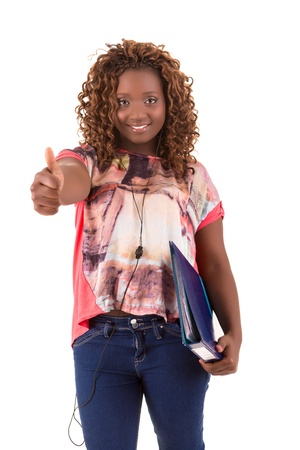 Overweighted african student, isolated over white photo