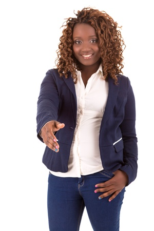 overweight students: A Happy Large african business woman - isolated over white background Stock Photo