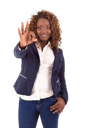 A Happy Large african business woman - isolated over white background photo