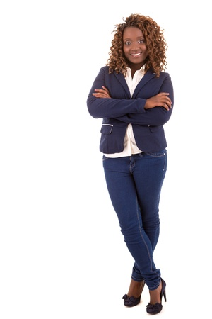 chubby woman: Happy african overweighted woman posing isolated over white background