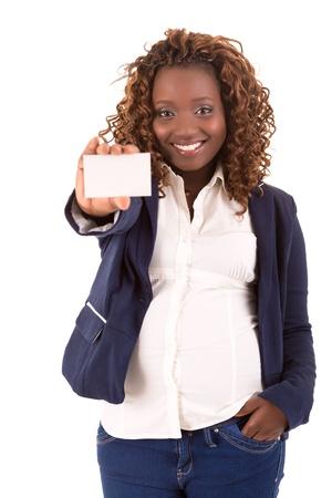 幸せな大きいアフリカ女性実業家 - 白い背景で隔離 写真素材