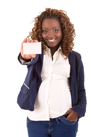 A Happy Large african business woman - isolated over white background Stock Photo