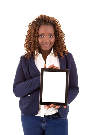 Overweighted african woman presenting your product in a tablet computer photo