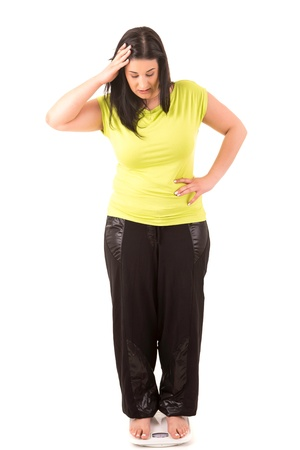 Fat woman very worried with her weight photo