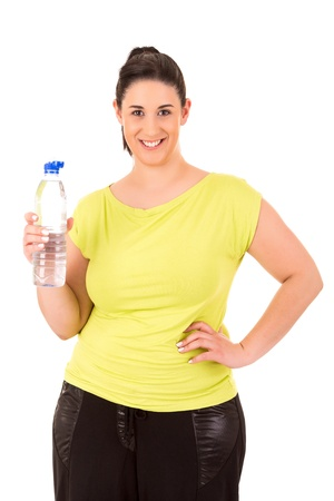 mujer gorda: Hermosa mujer de gran ejercicio - aislado sobre un fondo blanco