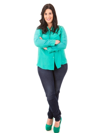 overweight people: Beautiful large woman posing isolated over a white background
