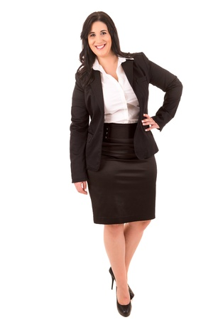 ugly girl: A Happy Large business woman - isolated over white background Stock Photo