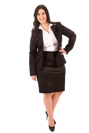 mujer fea: Un feliz grande mujer de negocios - aislados sobre fondo blanco