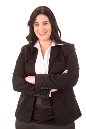 plus size woman: A Happy Large business woman - isolated over white background Stock Photo