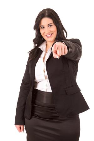 donne obese: Una donna felice Grande affari - isolato su sfondo bianco