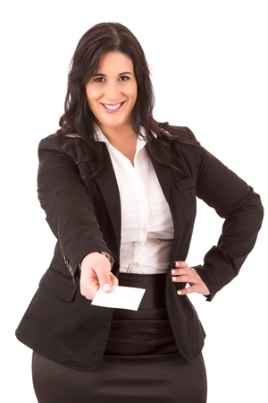 Large business woman offering a greeting card, isolated over white photo