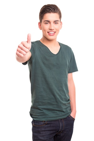 Young student expressing positivity - isolated over white Stock Photo